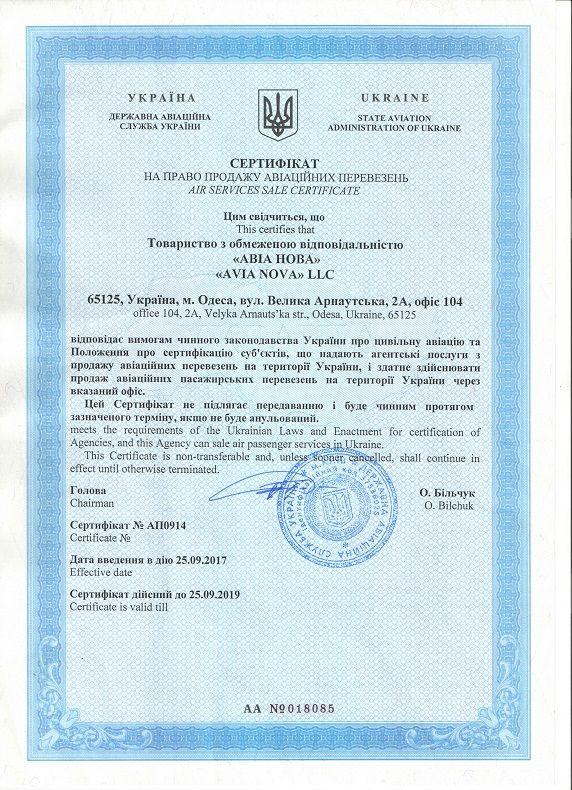 AviaNova airticket certificate